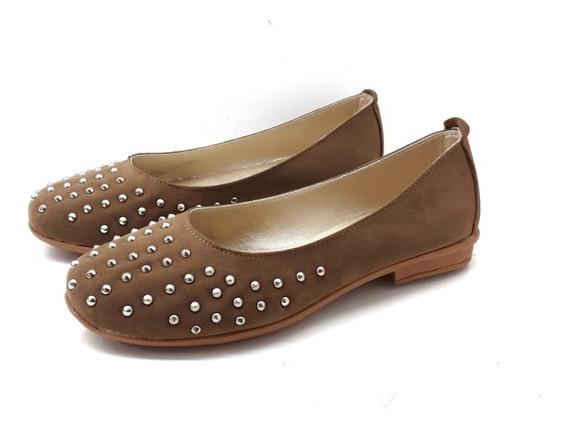 Zapatos Mujer Chatitas Gamuza Cerradas Tachas Moda Verano