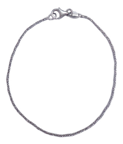Pulsera Simple Facetada Plata 925 Rodinada Mujer