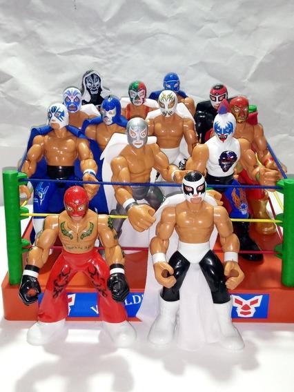 Ring De Lucha Libre + 2 Luchadores Patones Modelos A Elegir