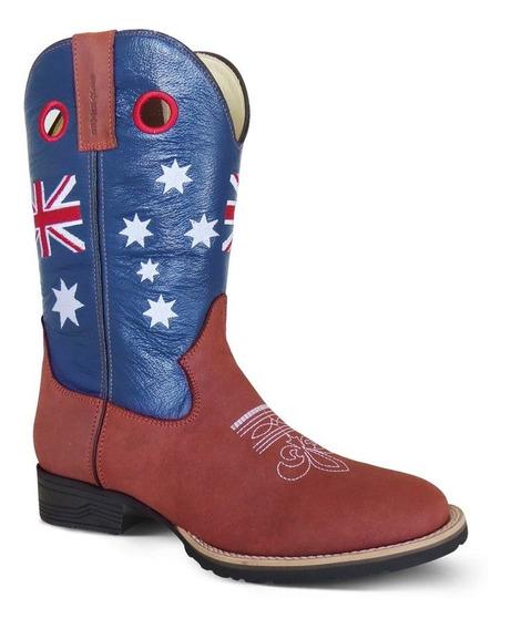 Bota Country Texana Couro C Horse Floter Australia Sela Azul