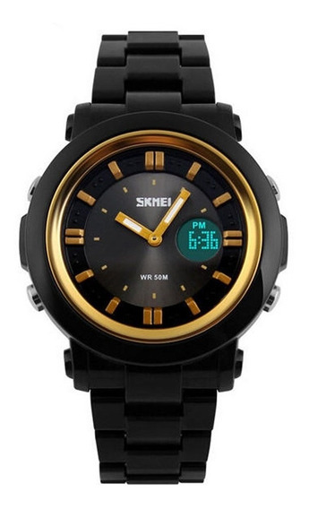 Relógio Feminino Skmei Anadigi 1062 Preto E Dourado