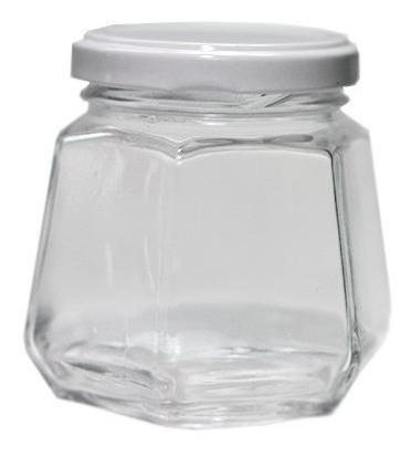 12 Potes De Vidro Sextavado 230 Ml Atacado Tampas Brancas