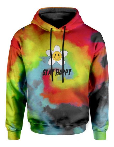 Moletom Com Capuz Unissex Stay Happy Tie Dye Md31