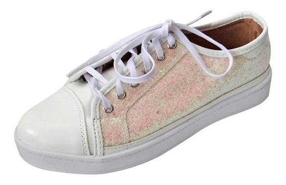 Tênis Com Glitter Brocado - Branco