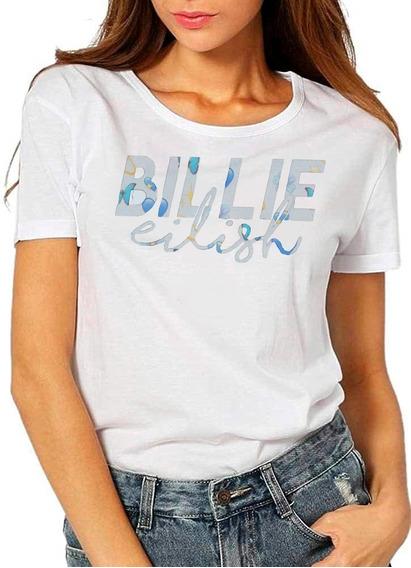 Playera Billie Eilish En Letras Estilizadas En Azul Suave