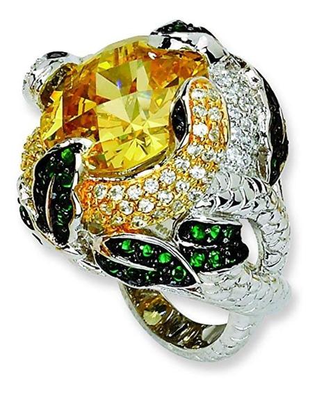 Anel Em Prata Cristal Amarelo E Zircônias Serpentes Aro 16