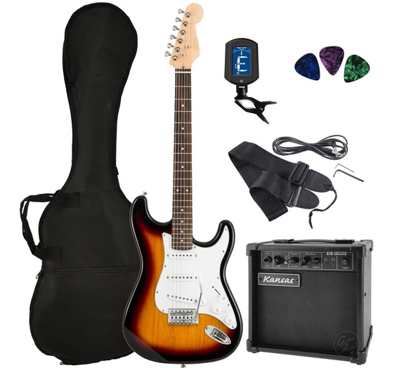 Pack Guitarra Electrica Rock Ampli Funda Afinador Cable Puas