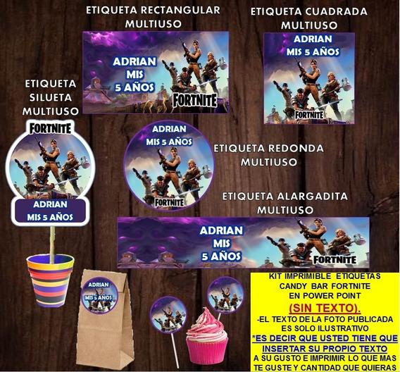 Kit Imprimible Fortnite Etiquetas Sin Texto Promo 2x1