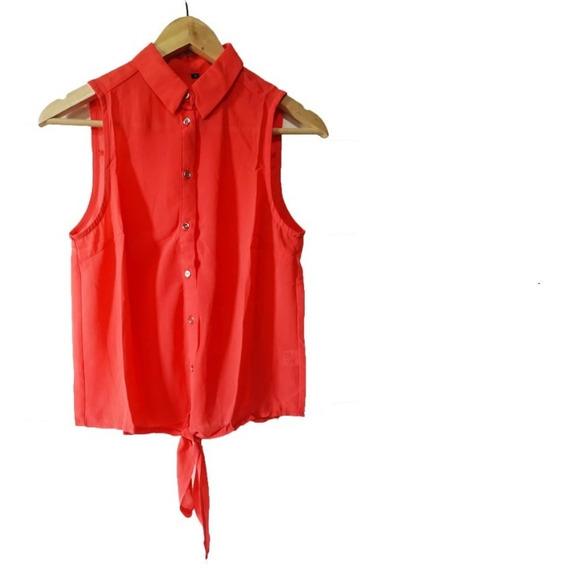 Camisa Naranja Sin Mangas Con Lazo - Talle M