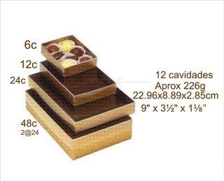 Caja Estuche Regalo 12 Chocolates Dorada Con Inserto 25jgo