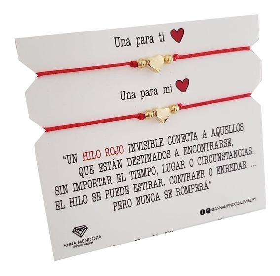 Par De Pulseras Corazon Hilo Rojo
