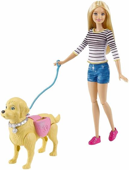 Boneca Barbie Passeio Com Cachorrinho Original Mattel Dyh16
