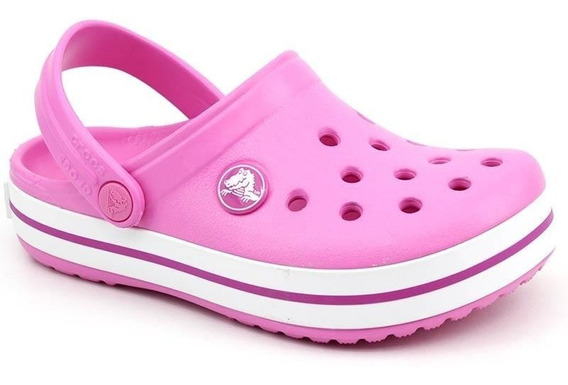 Clog Infantil Crocs Crocband Kids Rosa Branco Loja Pixolé