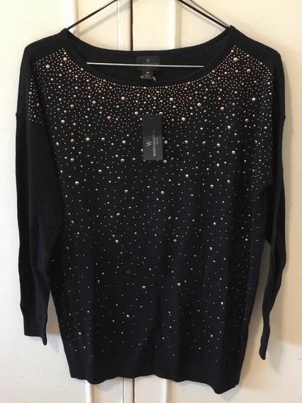 Sweater Worthington Negro Con Tachas Talle S Petite - 5240