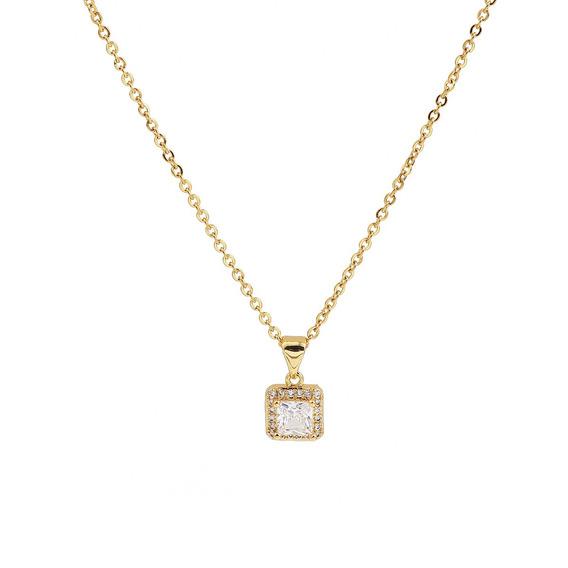 Collar Con Piedra Tipo Circonia Acero Inoxidable Color Oro