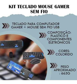 Kit Teclado Mouse Gamer Sem Fio Usb C Fio Pc Notebook