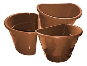 Kit 20 Vasos Plásticos Marrom Arandela Jardim Vertical
