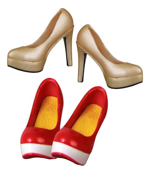 2 Pares 1/6 Sapatos Femininos Plataforma De Salto Alto Para