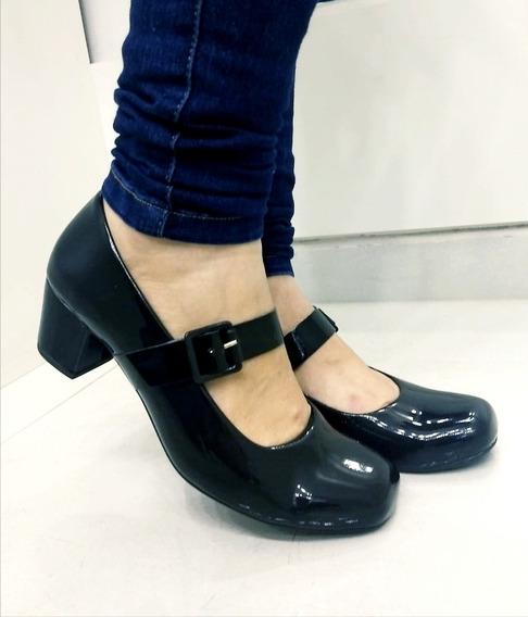 Sapato Feminino C/saltinho Estilo Boneca Preto/branco Barato