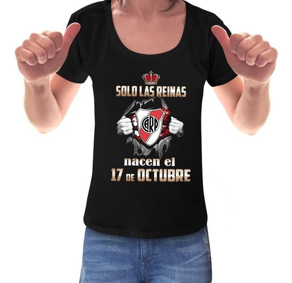 Remera River Plate Cumpleaños Fecha Personalizada Mujer