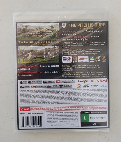 Game Pro Evolution Soccer 2015 Ps3 - Pes 15 - Lacrado - Novo