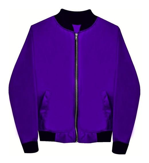 Chamarra Bomber Jacket Morada Violeta Envío Gratis