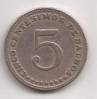 Panama Moneda De 5 Centesimos De Balboa Año 1982