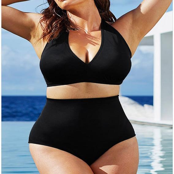 Traje Baño Dama Cintura Alta Bikini Negro Moda 2019 Remate