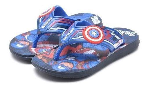 Chinelo Infantil Avengers Token Personagem Capitão América Marvel Solado Antiderrapante Tamanho 23 Ao 37