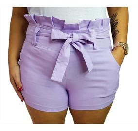 Shorts Cintura Alta Bengaline Shortinho Laço Social Feminina