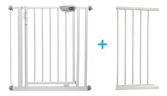 Puerta De Seguridad Niños Metalica + Extension 36cm Chicco