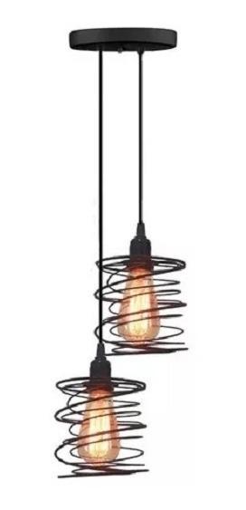 1 Pendente Mola Duplo + 2 Lampadas Filamento Led Vintage