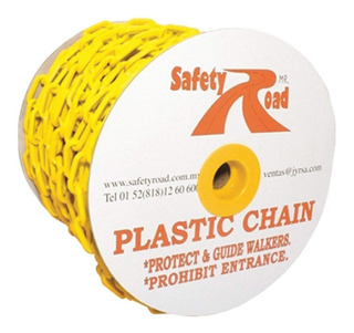 Cadena Plástica Alta Resistencia Amarilla 6mm 35mm X 50m
