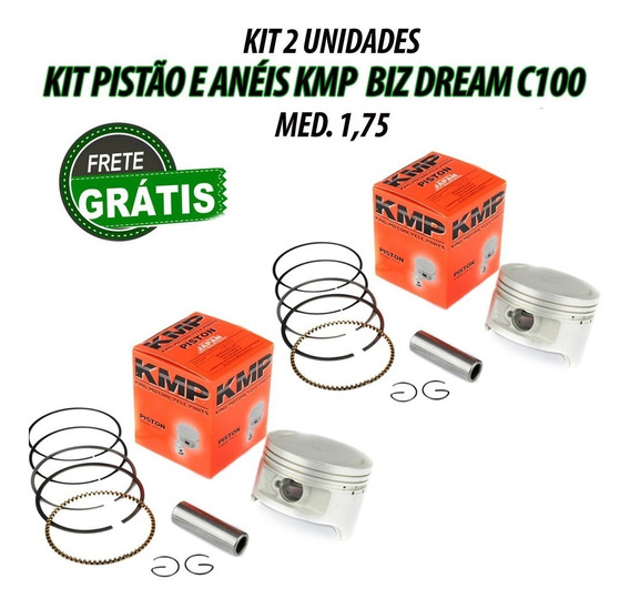 2 Unidades Pistão Kit C/anéis Kmp C100 Dream Biz 1,75 Barato