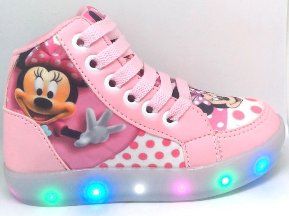 Botinha Minnie Mouse Infantil De Led Mais Brinde