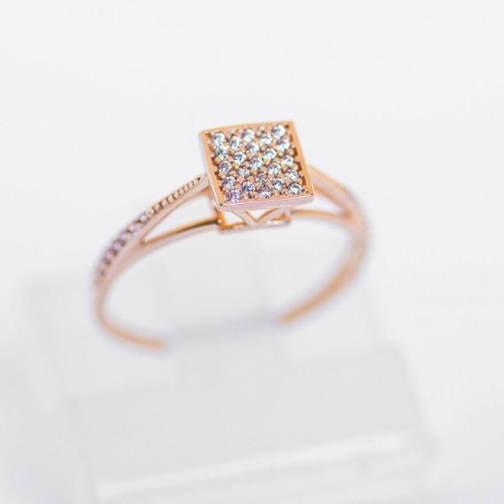 Anel De Ouro Feminino Com Pedras 16k
