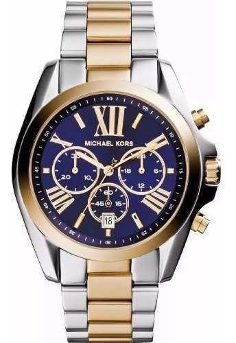 Relógio Feminino Mk5976 Bradshaw Azul Prata Dourad