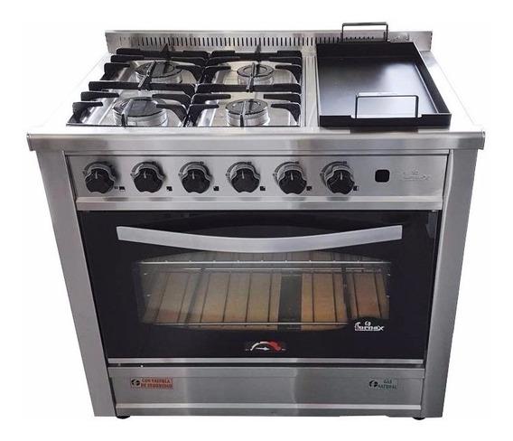 Cocina Fornax Industrial 90 Cm 4 H + Plancha Horno Visor