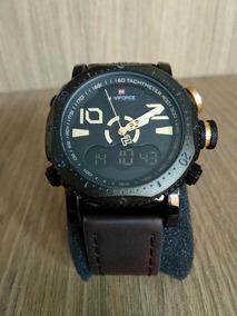 Relógio Luxo Masculino Original Naviforce Incrível Couro