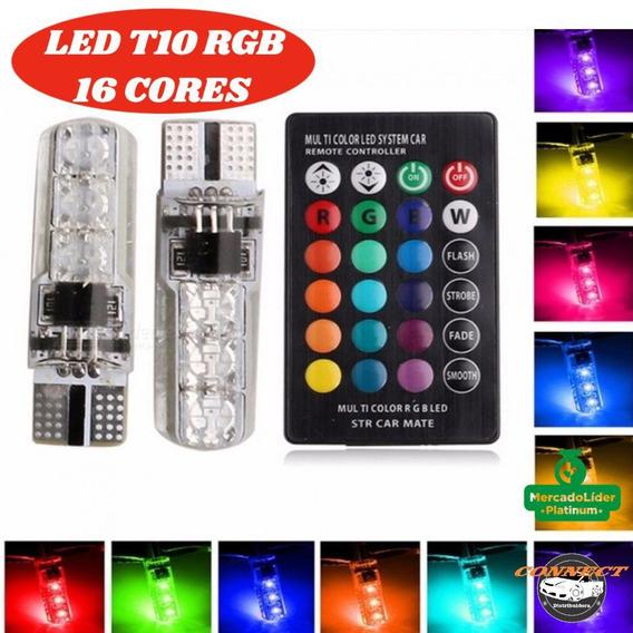 Par Lâmpada Led T10 Rgb W5w 16 Cores Controle Remoto Top