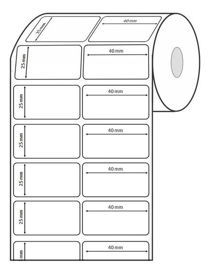 5 Rolo Etiqueta 40x25mm Couché 2 Coluna Mercado Full 5710 Un