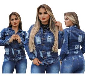 Jaqueta Casaco Jeans Feminina Rasgada Premium # Promoção