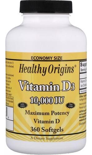 Vitamina D3 10,000 Iu 360 Softgels -  Healthy Origins