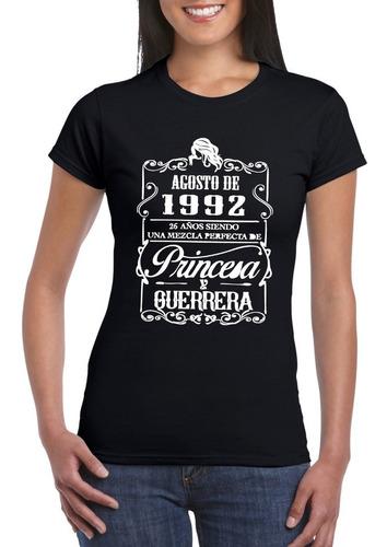 Camiseta Dama Algodón  Personalizada Con Fecha De Cumpleaños