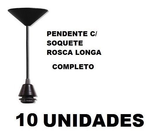 10 Fios Pendente Preto Completo Soquete E27 Luminária Lustre
