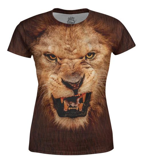 Camiseta Baby Look Feminina Leão Estampa Total