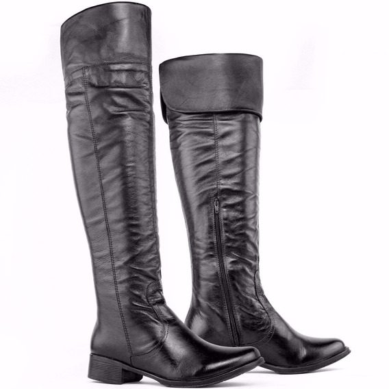 Bota Feminina Texana Over The Knee Cano Couro Legitimo Luxo