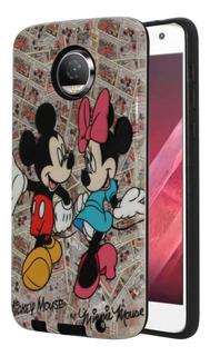 Funda Case Diseño Minnie Y Mickey Venom + Mica De Cristal Templado Plano Moto Z2 Play Xt1710