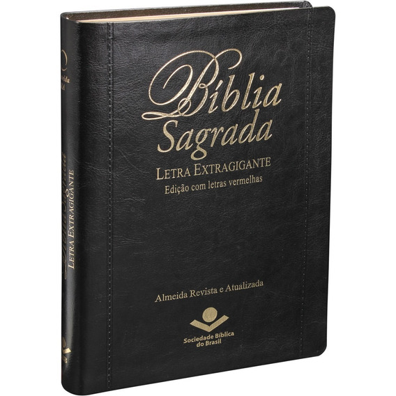 Bíblia Sagrada Letra Extragigante Ra 17x23 Cm Preta Índice
