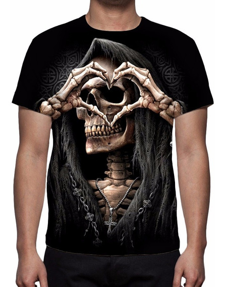 Camisa, Camiseta Caveira Rock Love - Estampa Total